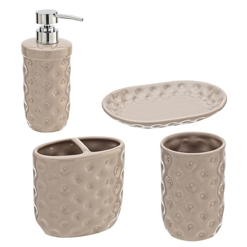 Set Ceramica 4 Pezzi: Dispenser Portaspazzolino Bicchiere Portasapone Tortora