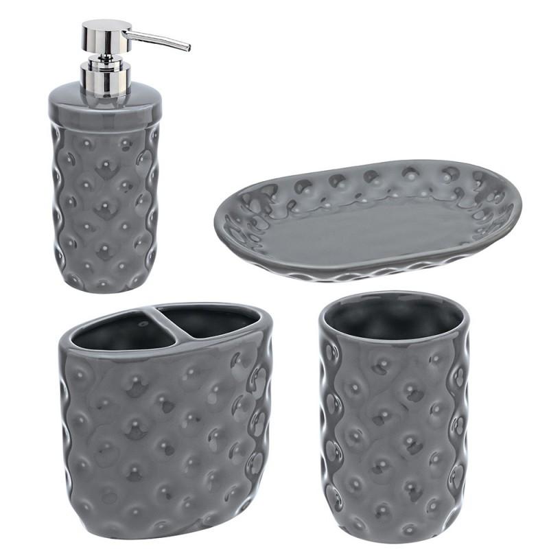 Set Ceramica 4 Pezzi: Dispenser Portaspazzolino Bicchiere Portasapone Grigio