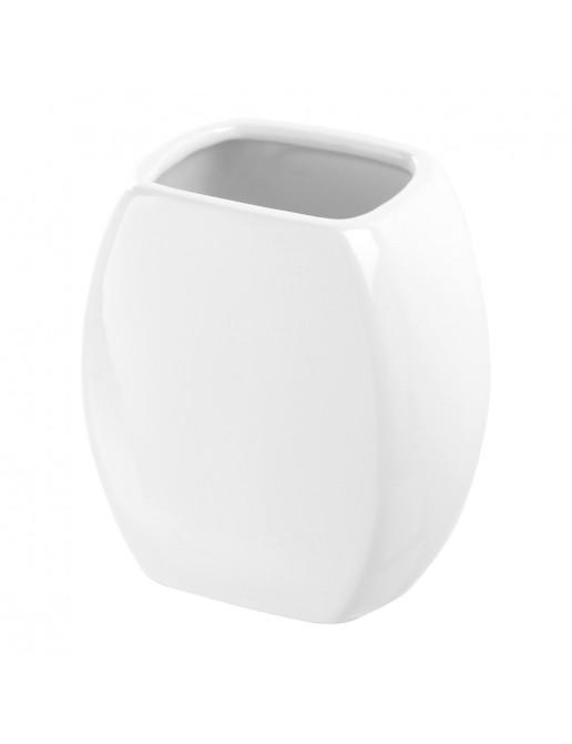 Portaspazzolino Da Appoggio Moderno Ceramica Bianco