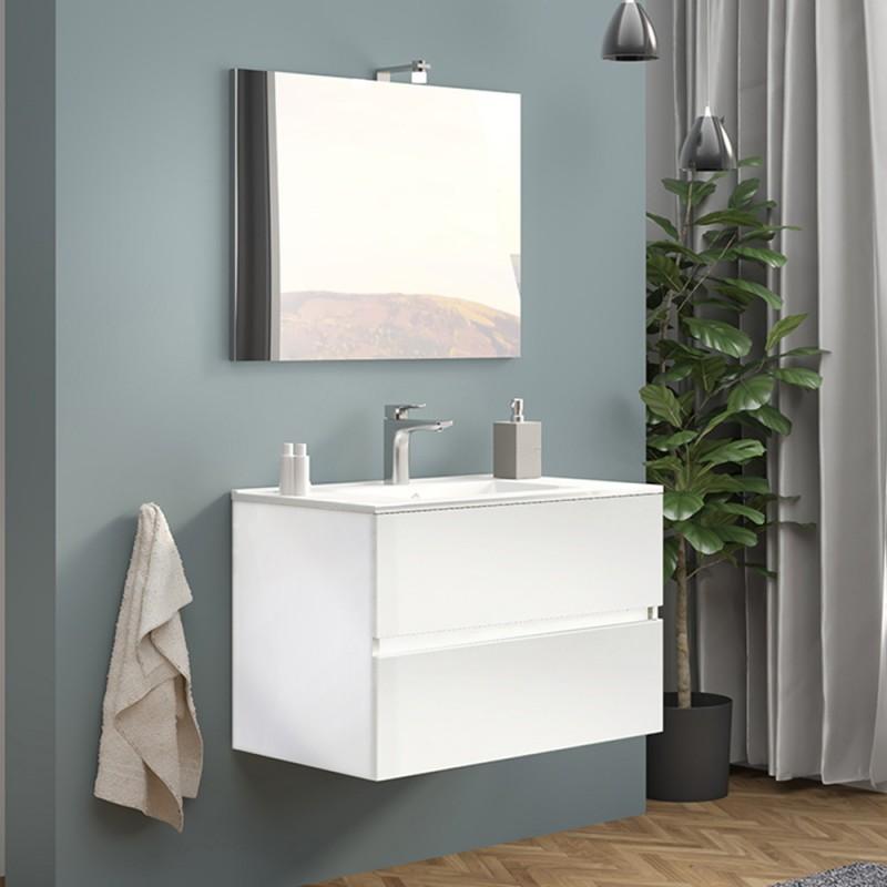 Mobile Bagno Sospeso Bianco Lucido 80 Cm Completo Specchio E Lampada