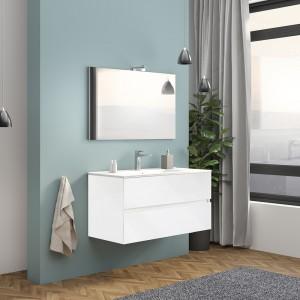 Mobile Bagno Sospeso Bianco Lucido 100 cm Con di Lampada e Specchio