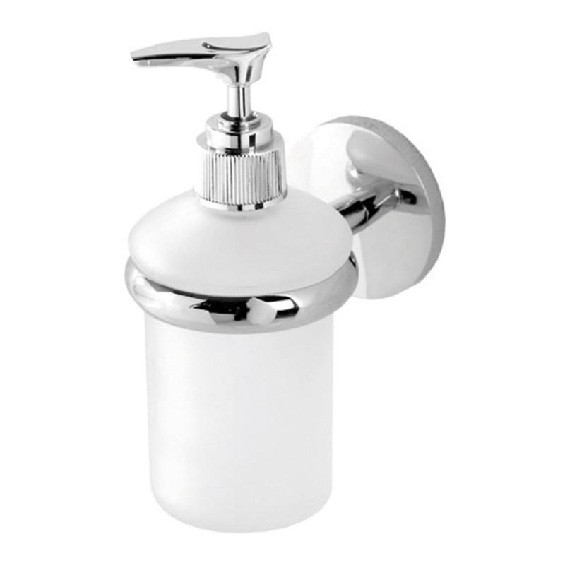 Porta Dispenser per Sapone Liquido In Vetro Satinato e Metallo Cromato