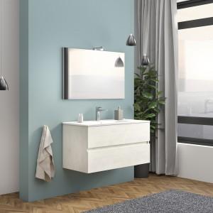 Mobile Bagno Sospeso Bianco Venato 100 cm Con di Lampada e Specchio