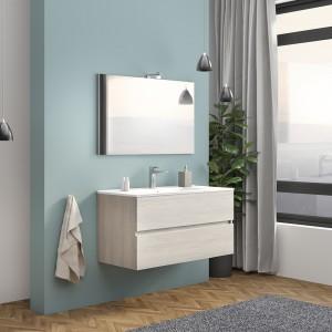 Mobile Bagno Sospeso Rovere Grigio 100 cm Con di Lampada e Specchio