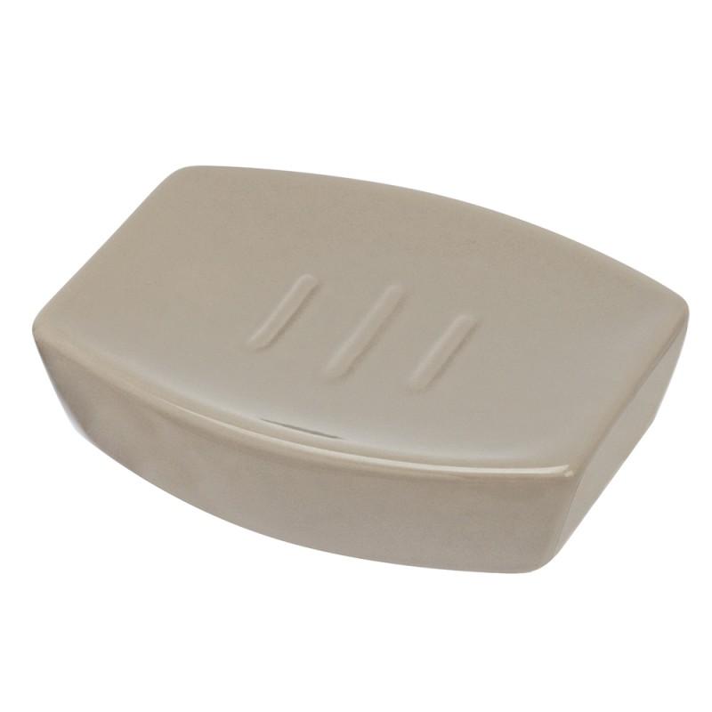 Porta Sapone Da Appoggio Moderno In Ceramica Tortora