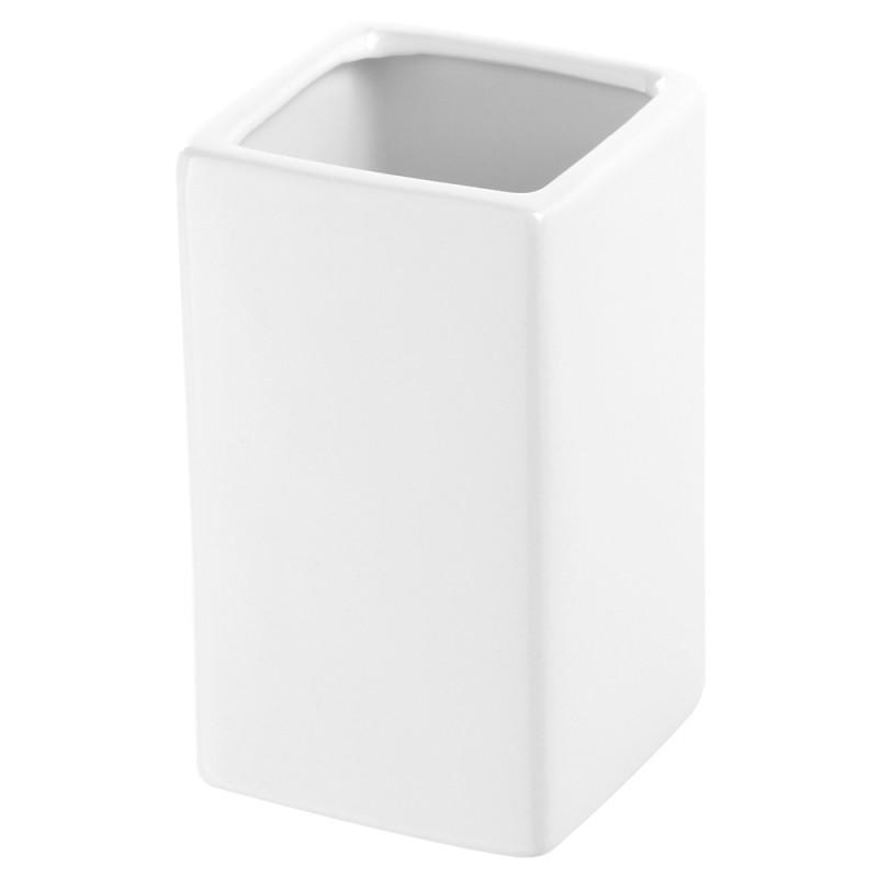 Portaspazzolino Rettangolare In Ceramica Bianco da Appoggio