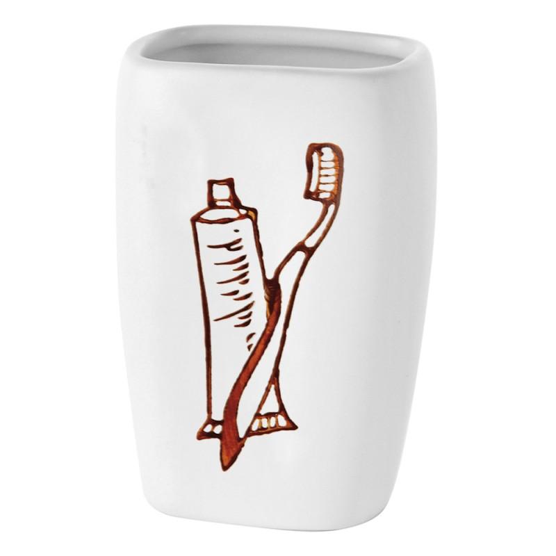 Portaspazzolino In Ceramica Con Stampa A Fuoco Bianco