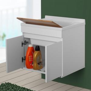 Lavatoio Sospeso 60 cm con Mobile 2 Ante Asse e Vasca Bianco Lucido Feridras - 5