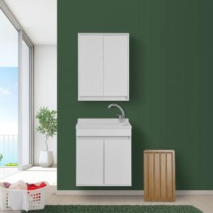 Lavatoio Sospeso 60 cm con Mobile 2 Ante Asse e Vasca Bianco Lucido Feridras - 6