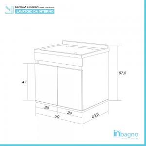 Lavatoio Sospeso 60 cm con Mobile 2 Ante Asse e Vasca Bianco Lucido Feridras - 3