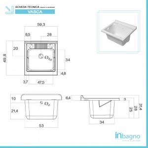Lavatoio Sospeso 60 cm con Mobile 2 Ante Asse e Vasca Bianco Lucido Feridras - 4