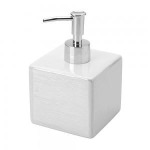 Dispenser Sapone in Ceramica Bianco a forma di cubo