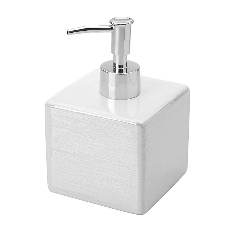 Dispenser Sapone in Ceramica Lucida Bianco a forma di Cubo