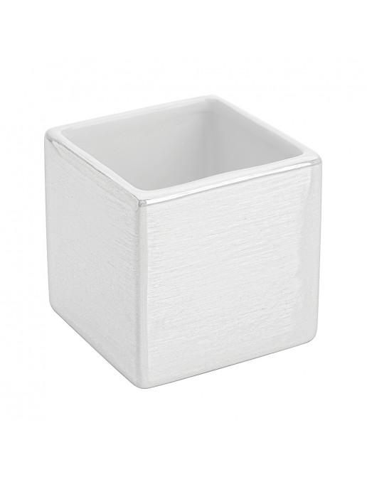 Portaspazzolino in Ceramica Lucida Bianco a Forma di Cubo