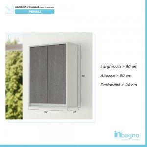 Pensile Salvaspazio Grigio da Bagno 2 Ante 60 cm Struttura Bianco Opaco Feridras - 3