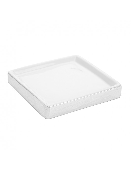 Portasapone In Ceramica Lucida Bianco A Forma Di Cubo