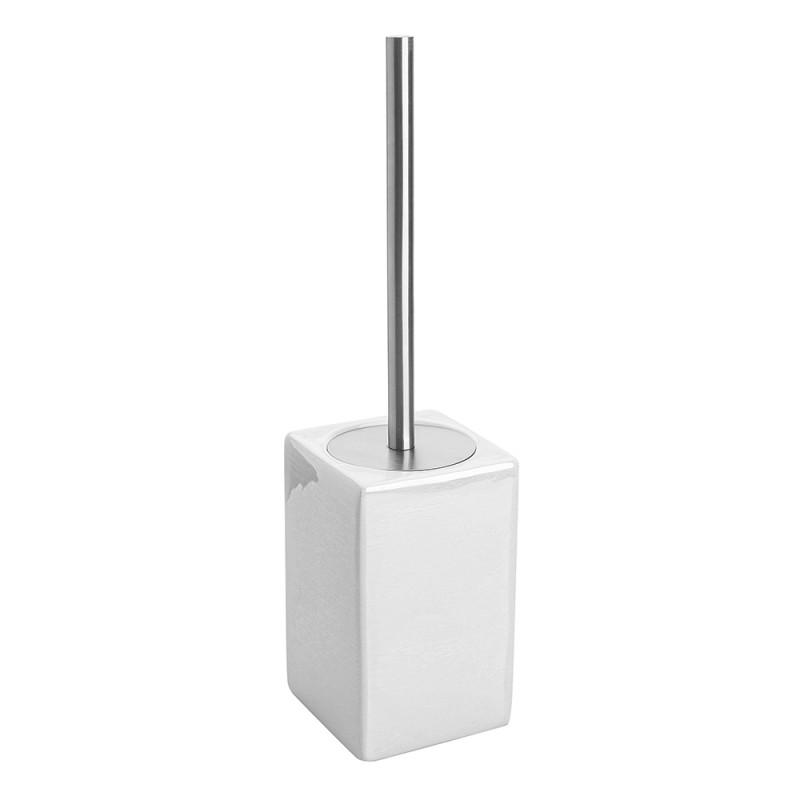 Portascopino WC Bianco In Ceramica E Manico Acciaio Inox