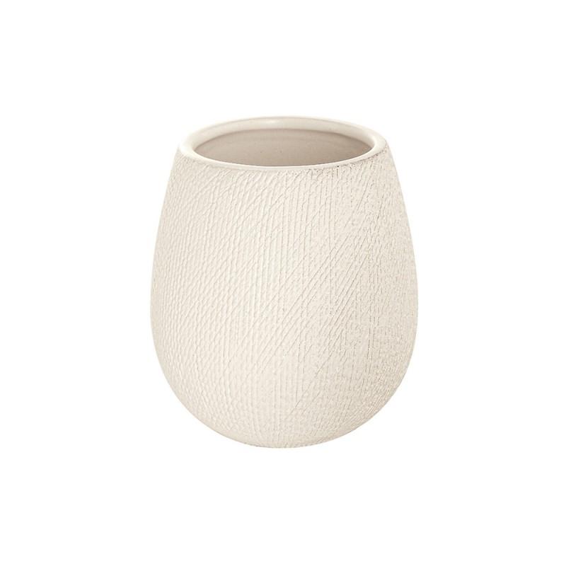 Portaspazzolino in Ceramica Bianco da Appoggio con Gusto Etnico