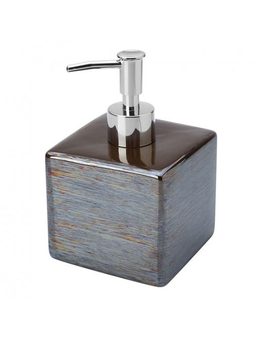 Dispenser Sapone In Ceramica Lucida Grigio A Forma Di Cubo