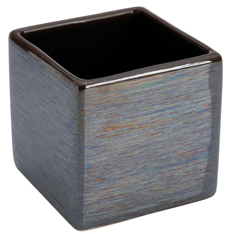 Portaspazzolino In Ceramica Lucida Grigio A Forma Di Cubo