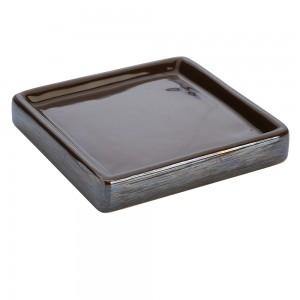 Portasapone In Ceramica Lucida Grigio A Forma Di Cubo
