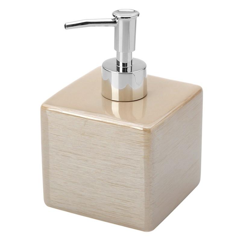 Dispenser Sapone In Ceramica Lucida Beige A Forma Di Cubo