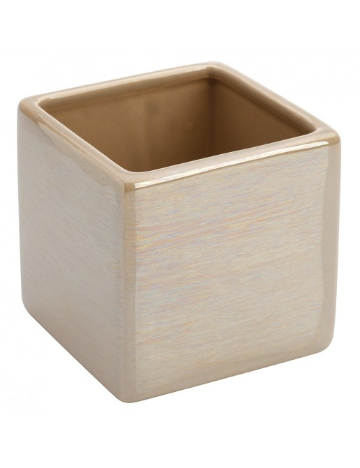 Portaspazzolino In Ceramica Lucida Beige A Forma Di Cubo