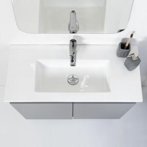 Mobile Sospeso Bagno Moderno 2 Ante Grigio L.80 cm con Specchio Feridras - 4