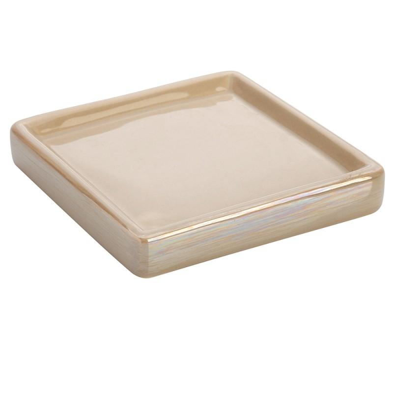 Portasapone In Ceramica Lucida Beige A Forma Di Cubo