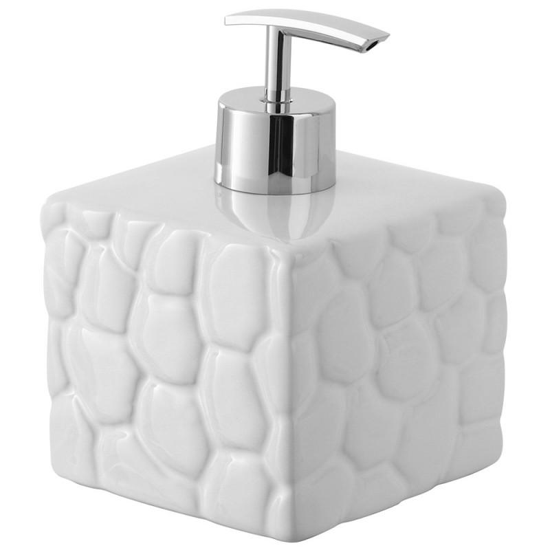 Dispenser Sapone in Ceramica Bianco Linea Sasso