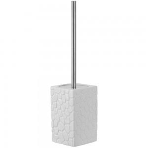 Portascopino in Ceramica e Acciaio Bianco Linea Sasso