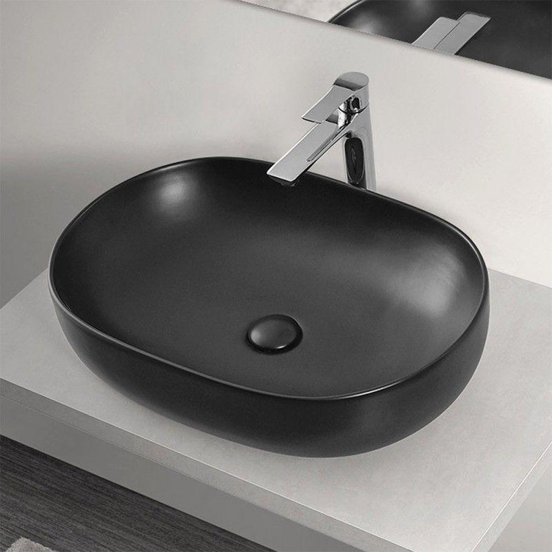 Lavabo  da Appoggio Ovale 60x41,6 cm in Ceramica Nero Opaco