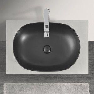 Lavabo  da Appoggio Ovale in Ceramica Nero Opaco
