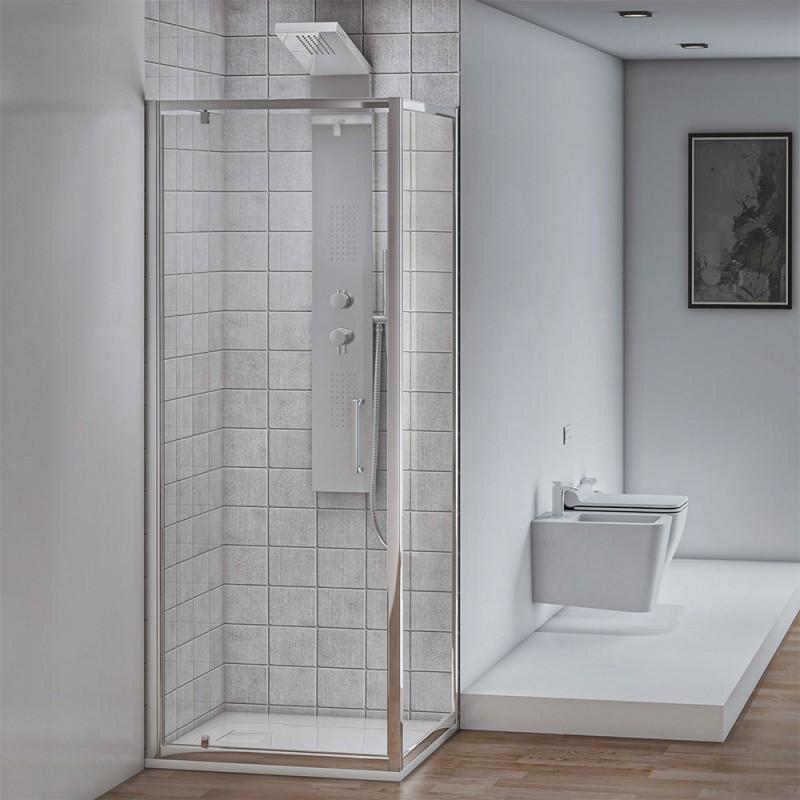 Box doccia angolare con 1 Porta Battente e 1 Fissa 70x70 cm Cristallo Trasparente