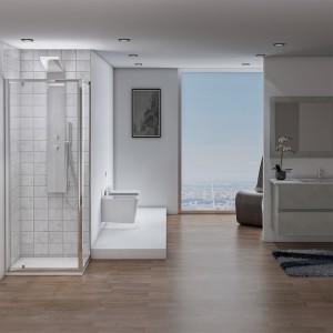 Bagno con Box doccia angolare con 1 Porta Battente e 1 Fissa 70x70 cm