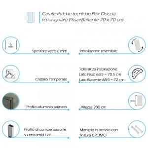 Misure Box doccia angolare con 1 Porta Battente e 1 Fissa 70x70 cm
