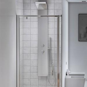 Cabina doccia angolare con 1 Porta Battente e 1 Fissa 70x70 cm Cristallo Trasparente