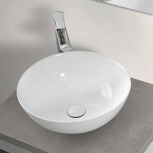 Lavabo a Bacinella Tondo 41,6 cm in Ceramica Bianco Lucido da Appoggio