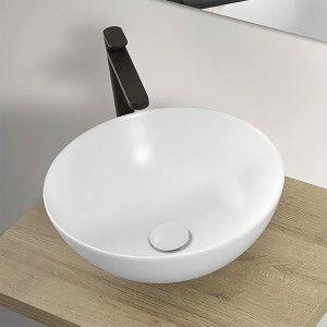 Lavabo a Bacinella Tondo 41,6 cm in Ceramica Bianco Opaco da Appoggio