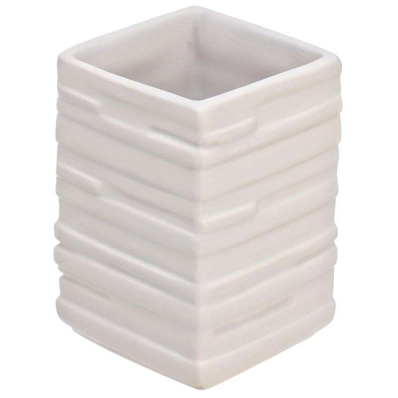 Portaspazzolino in Ceramica Bianco Linea Brik