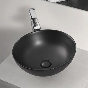 Lavabo a Bacinella Tondo 41,6 cm in Ceramica Nero Opaco da Appoggio