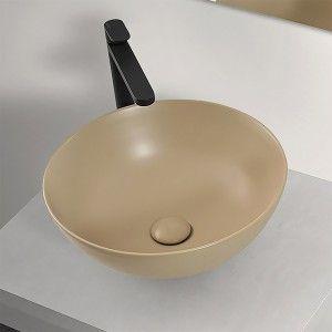 Lavabo a Bacinella Tondo 41,6 cm in Ceramica Cappuccino Opaco da Appoggio