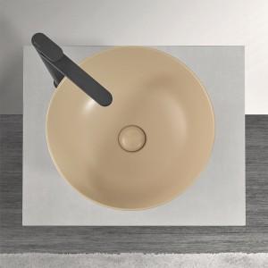 Lavabo a Bacinella Tondo 41,6 cm in Ceramica Cappuccino Opaco da Appoggio Inbagno - 2