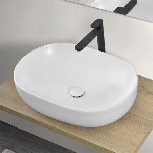 Lavabo Ovale da Appoggio 60x41,6 cm in Ceramica Bianco Opaco da Appoggio