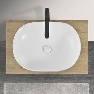 Lavabo Ovale da Appoggio in Ceramica Bianco Opaco