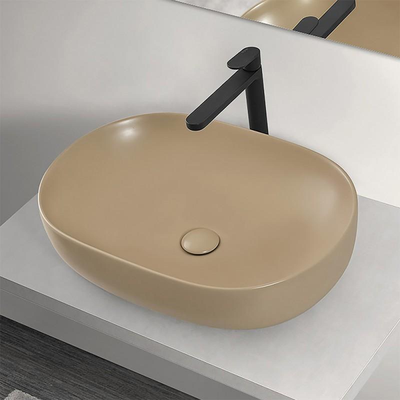 Lavabo  da Appoggio Ovale 60x41,6 cm in Ceramica Cappuccino Opaco