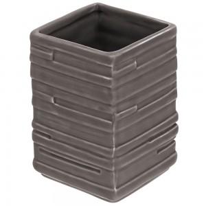 Portaspazzolino in Ceramica Grigio Linea Brik