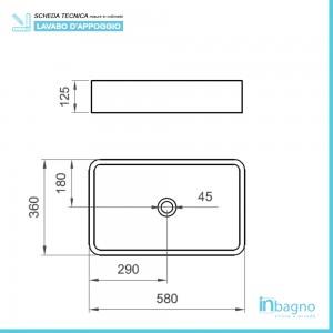 Misure Lavabo da Appoggio Rettangolare 36x58 cm Bianco Opaco