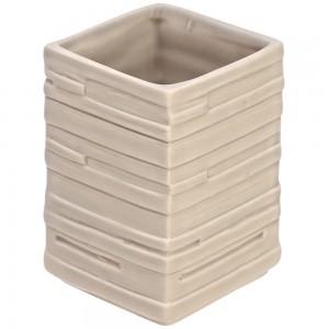 Portaspazzolino in Ceramica Beige Linea Brik