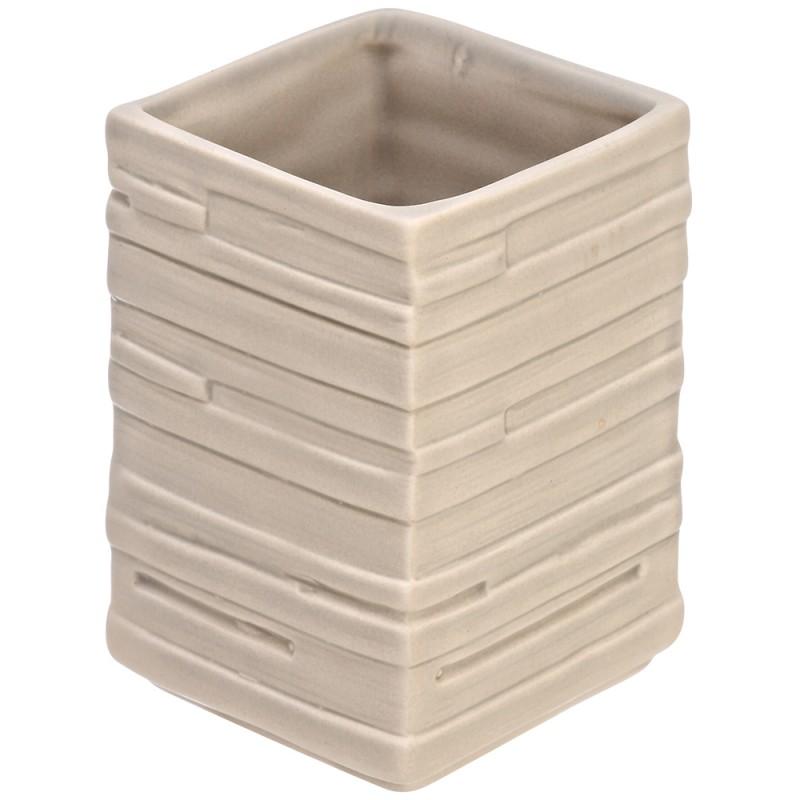 Portaspazzolino In Ceramica Beige Da Appoggio